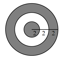 3 circles, all with same center, innermost circle & area between middle & outside circle, shaded. Segment from center, to outer circle edge, cut into 3 pieces, where it intersects the 2 inner circles, each piece, labeled 2.