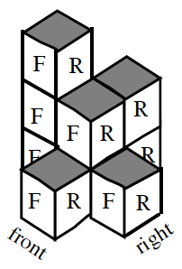 Stacks of cubes, with the front, right, and top sides visible, arranged as follows: To the right of a stack of 3 cubes, is a stack of 2 cubes, with another stack of 2 cubes behind, and one cube in front of, the 2 stack. To the right of the middle 2 cube stack, is 1 cube.