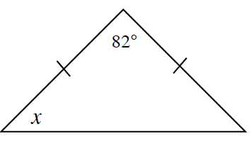 A triangle with two equal sides.  A base angle is labeled x. 82 degrees is the angle between the two equal sides.