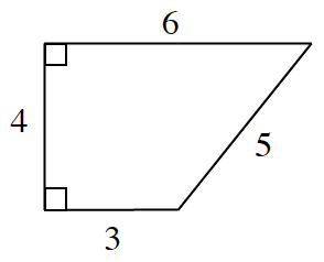 A right angled trapezoid with bottom base 3 and top base 6, left side is the perpendicular height, 4, and right side 5.
