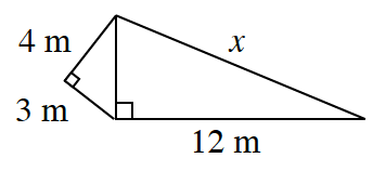 Two right triangles connected to each other. The smaller right triangle's hypotenuse connects to the short side of the second right triangle. The smaller right triangle has legs of 3  and 4 meters. The second right triangle has a leg of 12 meters, and a hypotenuse of, x.