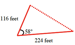 A triangle with two sides 224 feet and 116 feet and an angle 58 degrees between them.