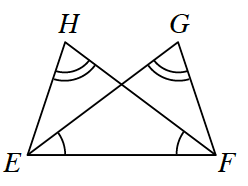 Four points, E, H, G, and F are connected by lines, H, E, and E, G, and H, F, and  G, F, and E, F. Angles H and G are equal and angles G, E, F is equal to angle H, F, E.