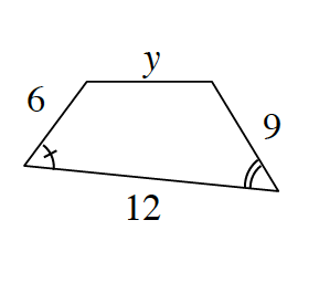 A quadrilateral with sides labeled, starting at the top and going clockwise, as follows: y, 9, 12 and 6.
