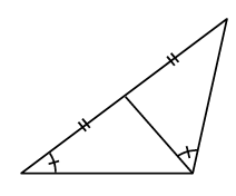 Two triangles connected together on one side. Another side on each has two tick marks. Both triangles have an angle with 1 tick mark.  In the first triangle, this angle is opposite the shared side. In the second triangle, this angle is opposite the side with a double tick mark.