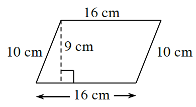 A parallelogram with bottom and top sides each 16 cm and left and right sides each 10 cm. A right triangle is created by a line segment of 9 cm.