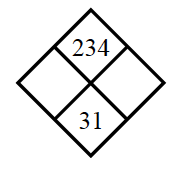 Diamond Problem. Left blank, Right blank, Top 234,  Bottom 31
