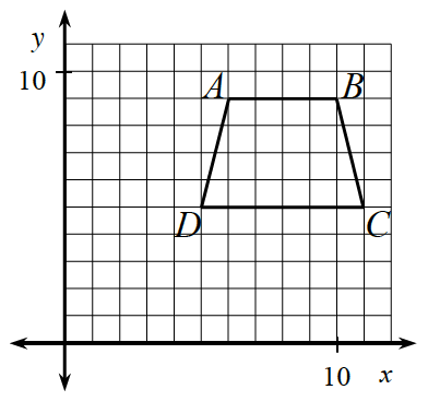 First quadrant coordinate grid, with trapezoid A,B,C,D, as follows: vertex A, at point (6, comma 9), vertex B, at point (10, comma 9), vertex C, at point (11, comma 5), vertex D, at point (5, comma 5).