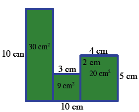 """""""Vertical segments, from top to bottom edges, aligned with the vertical sides, divide the interior area into 3 rectangles, Labels added to the 3 vertical rectangles, left, 30 square cm, middle, 9 square cm, right, 20 square cm. """""""