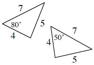 Two triangles. The triangle on the left has side lengths 4, 5, and 7, with one angle of 80 degrees between sides 7 and 4. The triangle on the right has side lengths 4, 5, and 7, with one angle of 50 degrees between sides 4 and 7.