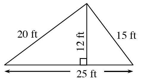 A triangle with a base of 25 feet, left side 20 feet and right side 15 feet.  Two internal triangles are created by a line segment of 12 feet drawn from the upper vertex to the base at right angles .