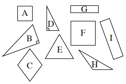 9 figures as follows: A, square, B, right triangle, C, diamond, D, right triangle, E triangle with equal sides. F, large square, G, horizontal rectangle, H, obtuse triangle, I, Vertical rectangle. Your teacher will provide you with a model.
