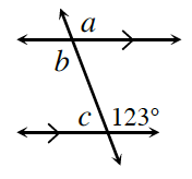A transversal line cuts two horizontal parallel lines. About the point of intersection, of the top parallel line and the transversal, are exterior right angle, a, and interior left angle, b. About the point of intersection, of the bottom parallel line and the transversal, are interior left angle, c, and interior right angle, 123 degrees.