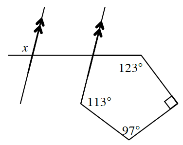 Two increasing parallel lines with a horizontal transversal. Angle x is the upper, exterior, angle about the left parallel line and the transversal. A pentagon is formed with line segments of the bottom, right parallel line and the right end of the transversal along with three other line segments. The angles from the end of the transversal, clockwise about the pentagon is 123, 90, 97, and 113 degrees.  The lower exterior angle between the transversal and the right parallel line is unknown.