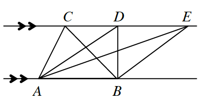 2 horizontal lines: each line with points labeled, in order from left to right, top: C, D, E, bottom: A, B. Line segments from, A, to, C, from, A, to D, from, A, to, E, from, B, to, C, from, B, to, D, from, B, to, E.