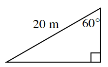 A right triangle with a 60 degree angle and a hypotenuse of 20 meters.