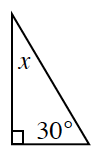 A right triangle with interior angles of x and 30 degrees.