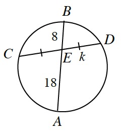 Circle with 2 intersecting chords, CD, AB, intersecting a point labeled, e, segments, CE, &, ED, each labeled with 1 tick mark, segment, ED, labeled, k, segment, EB labeled, 8, & segment, AE, labeled, 18.