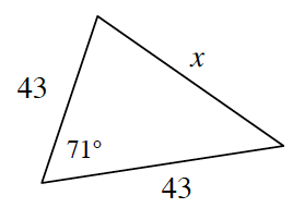 A triangle with side lengths 43 on left side, 43 on bottom side, X on right side. 71 degrees angle is in between the 43 sides.