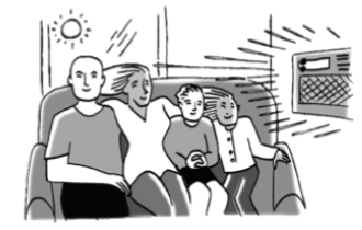 Family enjoying a new air  conditioner.