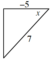 Right triangle in third quadrant, horizontal leg labeled, negative 5, hypotenuse labeled, 7, angle opposite vertical leg labeled, x.