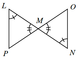 Line Segments L,N, & P,O, intersect at point, M, with line segments connecting L to P, & O to N, creating 2 triangles: L,M,P, & M,N,O, labeled as follows: angle L & angle N, each have 1 tick mark, angle O,M,N, & angle L,M,P, each have 2 tick marks.