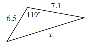 Triangle, top left side labeled 6.5, top right side labeled 7.1, third side labeled, x, angle opposite third side labeled, 119 degrees.