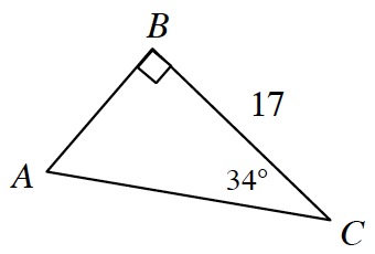 A right triangle A, B, C, with the following measurements: side B, C is 17, angle B is 90 degrees, and angle C is 34 degrees.