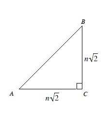 Right triangle, A B C, vertical leg, B C, & horizontal leg, A C, each labeled, n times the square root of 2.