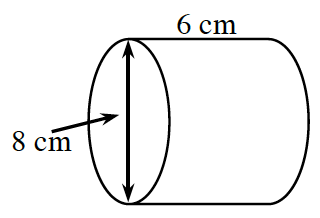 Cylinder, positioned on its side, top edge labeled 6 cm, diameter of left side labeled, 8 cm.