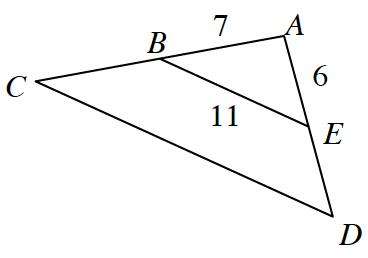 Triangle A,C,D, with midpoint on side A,C, labeled, B, & midpoint on side, A,D, labeled, e. Sides on triangle A,B,E, labeled as follows: A,B, 7, A,E, 6, B,E, 11.