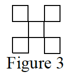 5 square tiles, titled Figure 3, with 1 square in the center, & 1 square each touching each of the 4 vertices of the center square.