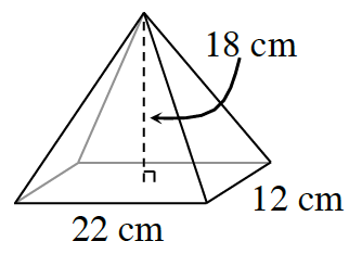 A rectangular pyramid, with a dashed line from the top vertex to the center of the rectangle, perpendicular to the rectangle, and labeled, 18 cm. The sides of the rectangle are labeled, 22 and 12 centimeters.