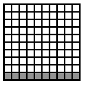 A 10 by 10 block of 100 where 1 row of 10 is shaded.