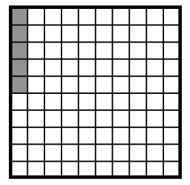 A 100% block with 5 squares in the first column shaded.