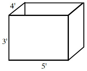 Open box, labeled as follows: front side, left edge, 3 feet, bottom edge, 5 feet, left side, top edge, 4 feet.