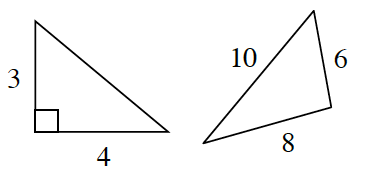 The right triangle on the left has legs 4, and, 3. The triangle on the right has side lengths 6, 8, and 10.
