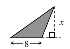 An obtuse triangle with a base of 8.  An external triangle is created, by a line segment of X, drawn from the upper vertex, to the extended base, at right angles.