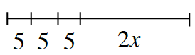 A line segment with 4 sections, labeled as follows: 5, 5, 5, 2x.