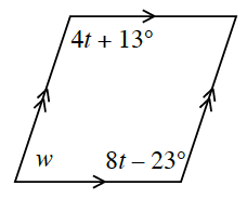 A parallelogram with three labeled angles: upper left angle is 4, T + 13 degrees, lower left angle is W, and lower right angle is 8, T minus 23 degrees.