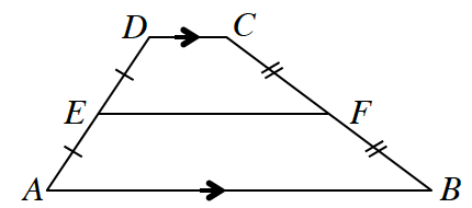 A trapezoid, A, B, C, D where side D, C, is parallel to side A, B. Midpoint between A, D is point E.  Midpoint between C, B is point F. Line E, F is drawn.