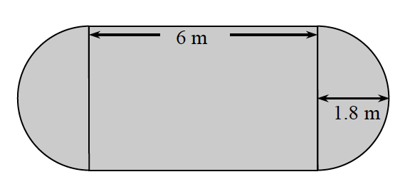 A horizontal rectangle, in the middle, with two semi circles connected on the left and right sides. The length of the rectangle is 6 meters. The radius of the semi circle is 1.8 meters.