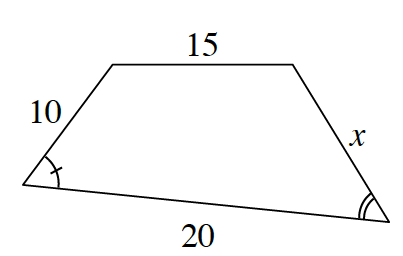 A larger quadrilateral, in the same orientation, with sides labeled, starting at the top and going clockwise, as follows: 15, x, 20, and 10.