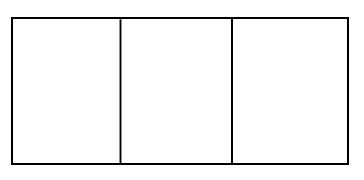Horizontal rectangle divided into 3 equal vertical pieces.