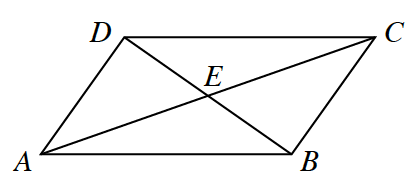Quadrilateral, A, B, C, D, line segments from A, to C, from, B, to, D, intersecting at, e.