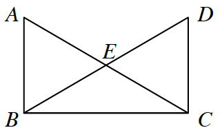 Two triangles A, B, C, and, B, C, D, that intersect at E to form triangle, B, E, C.