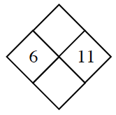 Diamond Problem. Left 6, Right 11,  Top blank,  Bottom blank