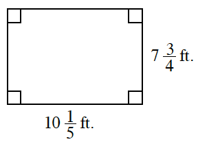 A rectangle, with width, 7 and 3 fourths feet, length 10 and 1 fifth feet.