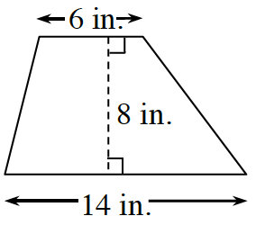 A trapezoid with horizontal parallel bases of 14 in, and 6 in. A dashed line, labeled 8 in, perpendicular to both bases, connects the bases.