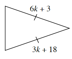 A triangle with side lengths 6, K + 3 and 3  K + 18.